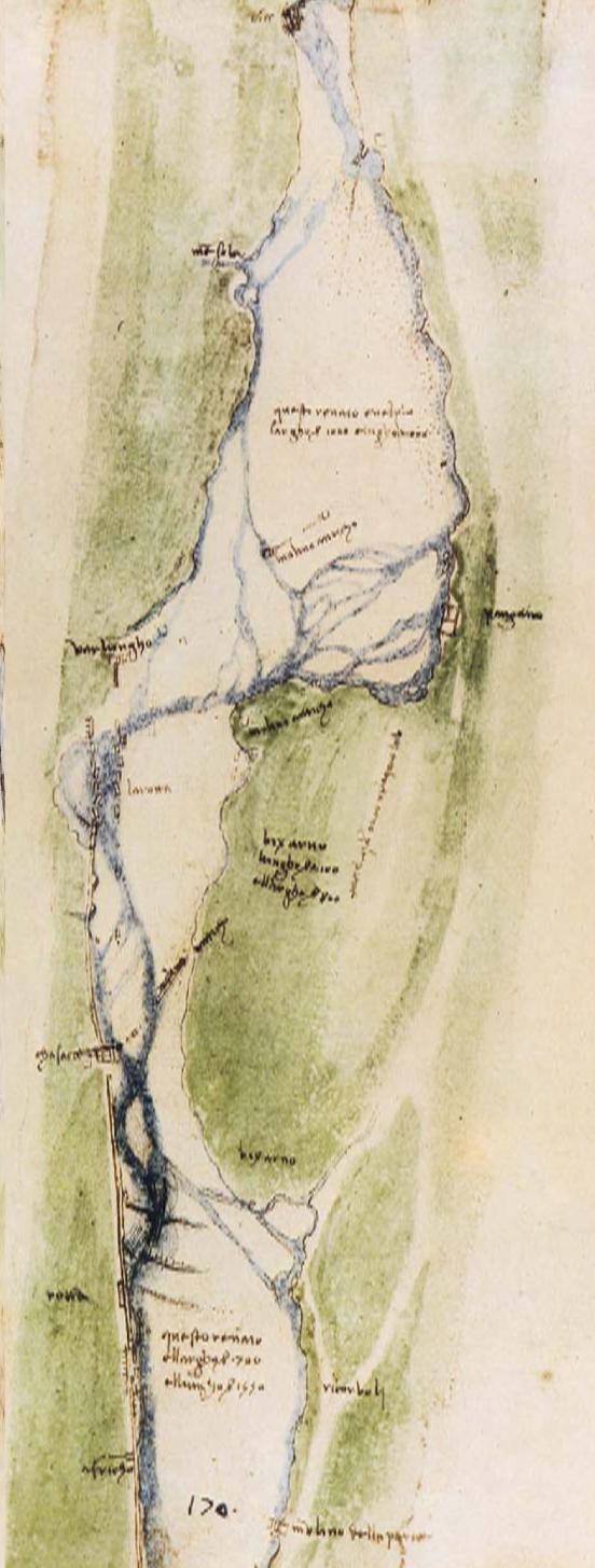 1503 circa; Leonardo da Vinci: Studi sul corso dell'Arno, a monte di Firenze: fra i Torrenti Mensola ed Affrico.